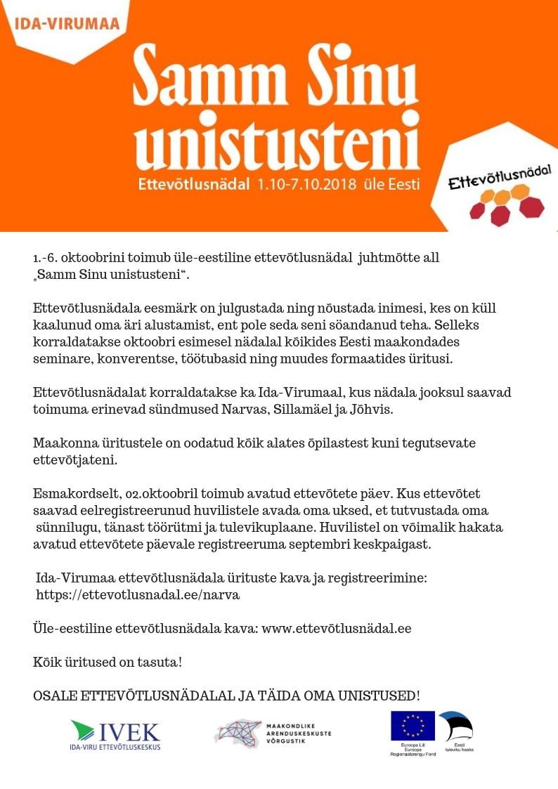 Ettevõtlusnädal Narvas 01.-06.oktoober